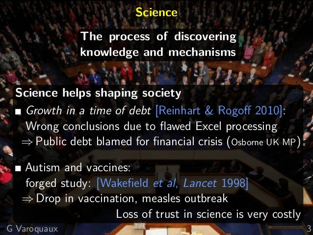 Science The process of discovering knowledge and mechanisms Science helps shaping society Growth in a time of debt [Reinha...