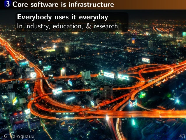 3 Core software is infrastructure Everybody uses it everyday In industry, education, & research G Varoquaux 43