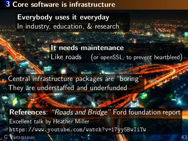 3 Core software is infrastructure Everybody uses it everyday In industry, education, & research It needs maintenance Like ...