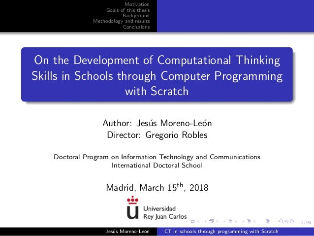 1/94 Motivation Goals of this thesis Background Methodology and results Conclusions On the Development of Computational Th...
