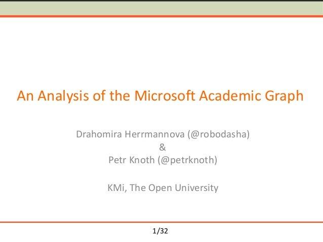 1/32 An Analysis of the Microsoft Academic Graph Drahomira Herrmannova (@robodasha) & Petr Knoth (@petrknoth) KMi, The Ope...