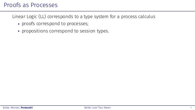 Better Late Than Never: A Fully Abstract Semantics for Classical Processes Slide 2