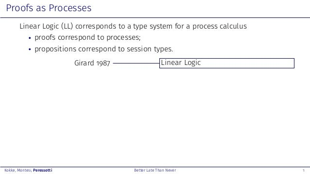 Better Late Than Never: A Fully Abstract Semantics for Classical Processes Slide 3