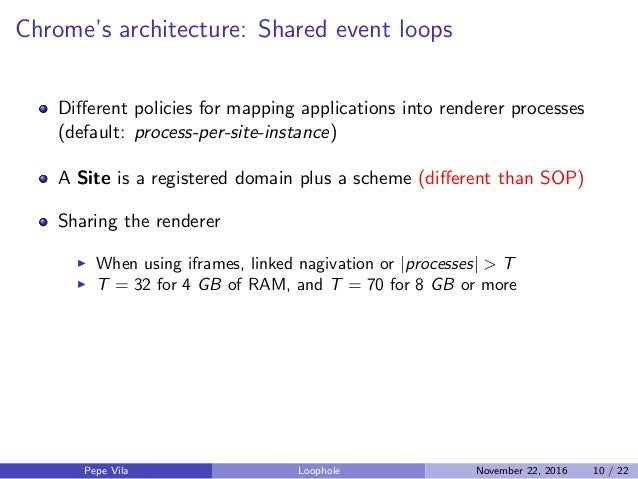 Chrome's architecture: Shared event loops Different policies for mapping applications into renderer processes (default: pro...