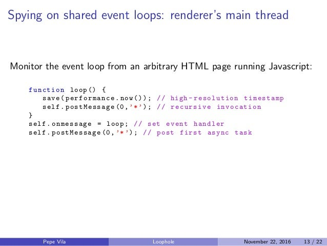 Spying on shared event loops: renderer's main thread Monitor the event loop from an arbitrary HTML page running Javascript...