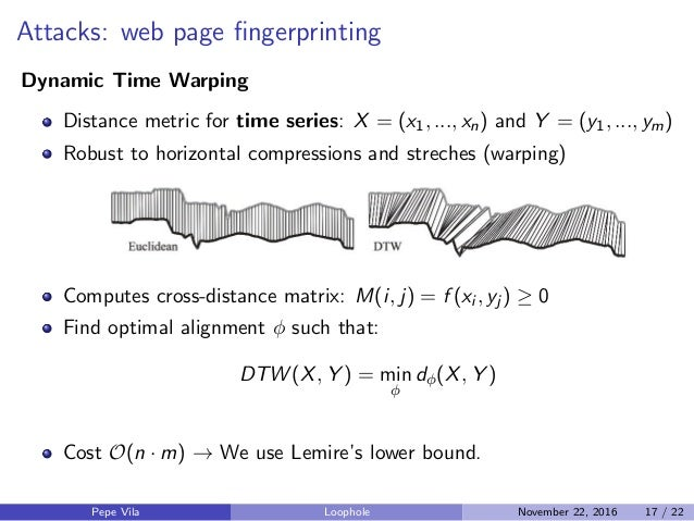 Attacks: web page fingerprinting Dynamic Time Warping Distance metric for time series: X = (x1, ..., xn) and Y = (y1, ..., ...