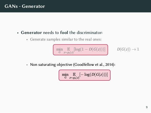 GANs - Generator Objectives • Minimax: log(1 − D(G(z))) • Non-saturating: − log(D(G(z))) 0 0.5 1 −6 −4 −2 0 2 4 D(G(z)) JG...