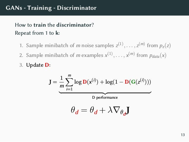 GANs - Training - Generator How to train the generator? Update executed only once after D updates: 1. Sample minibatch of ...