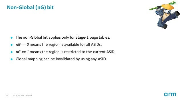 Non-Global (nG) bit The non-Global bit applies only for Stage-1 page tables. nG 0 means the region is available for all AS...