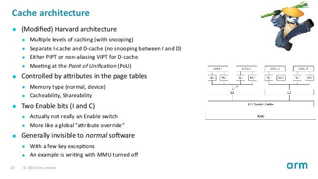 Cache architecture (Modified) Harvard architecture Mul ple levels of caching (with snooping) Separate I-cache and D-cache (...