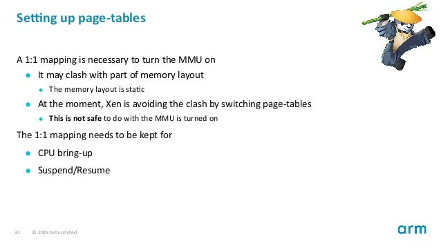 Se ng up page-tables A 1:1 mapping is necessary to turn the MMU on It may clash with part of memory layout The memory layo...
