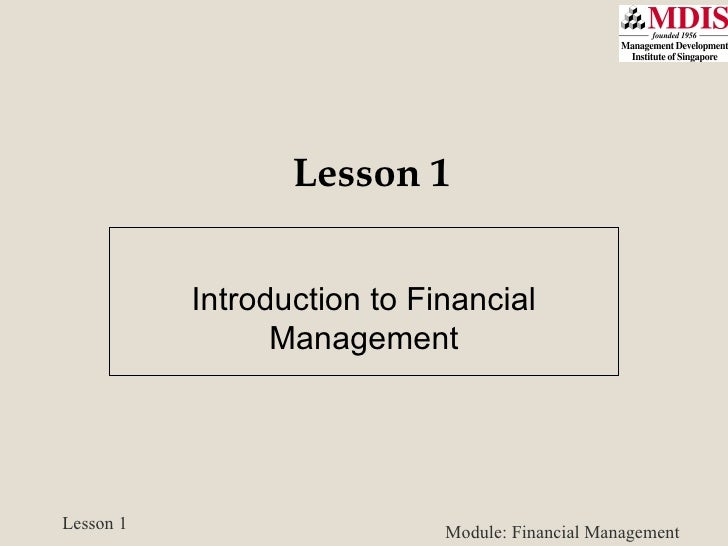 Lesson 1 Introduction to Financial Management