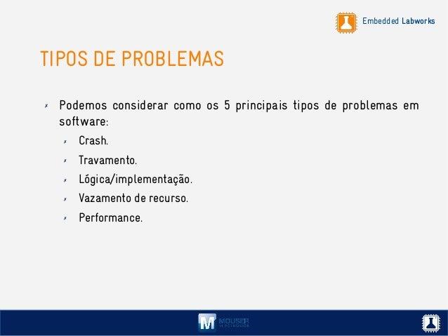 Embedded Labworks TIPOS DE PROBLEMAS ✗ Podemos considerar como os 5 principais tipos de problemas em software: ✗ Crash. ✗ ...