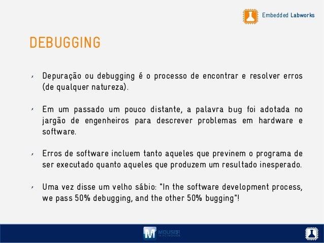Embedded Labworks DEBUGGING ✗ Depuração ou debugging é o processo de encontrar e resolver erros (de qualquer natureza). ✗ ...