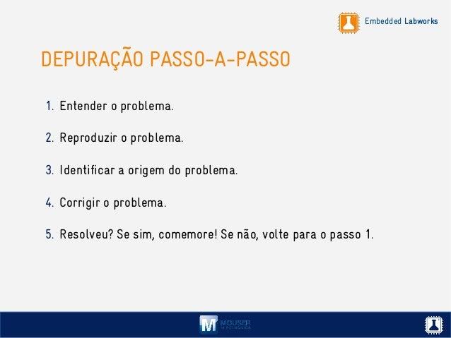 Embedded Labworks DEPURAÇÃO PASSO-A-PASSO 1. Entender o problema. 2. Reproduzir o problema. 3. Identificar a origem do pro...
