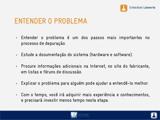 Embedded Labworks ENTENDER O PROBLEMA ✗ Entender o problema é um dos passos mais importantes no processo de depuração. ✗ E...