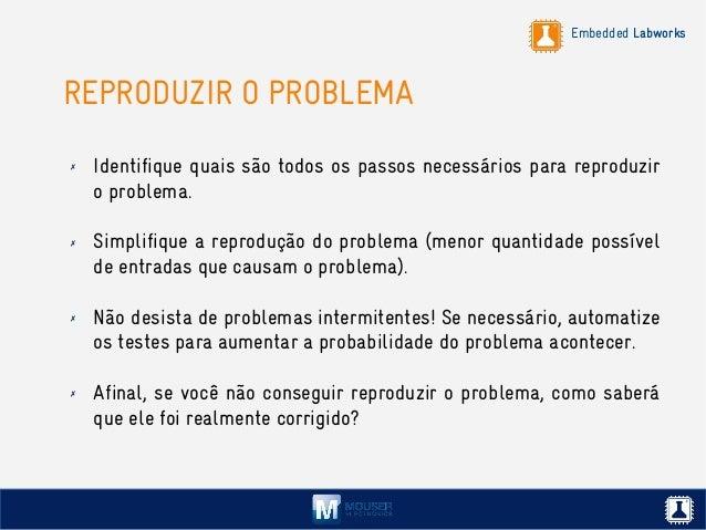 Embedded Labworks REPRODUZIR O PROBLEMA ✗ Identifique quais são todos os passos necessários para reproduzir o problema. ✗ ...