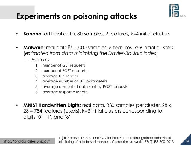 Experiments on poisoning attacks •  Banana: artificial data, 80 samples, 2 features, k=4 initial clusters  •  Malware...