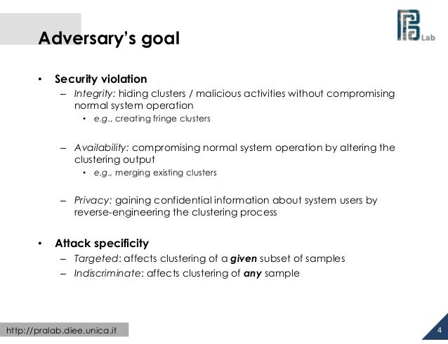 Adversary's goal •  Security violation – Integrity: hiding clusters / malicious activities without compromising norma...