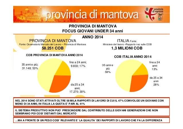 13 PROVINCIA DI MANTOVA FOCUS GIOVANI UNDER 34 anni PROVINCIA DI MANTOVA Fonte: Osservatorio Mercato del Lavoro – Provinci...