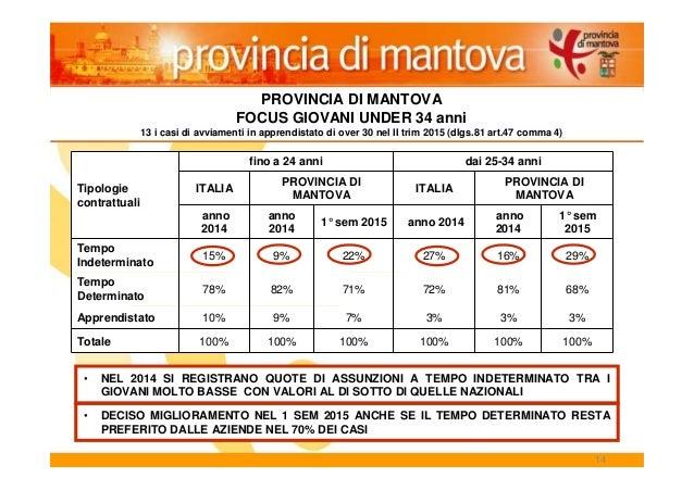 14 PROVINCIA DI MANTOVA FOCUS GIOVANI UNDER 34 anni 13 i casi di avviamenti in apprendistato di over 30 nel II trim 2015 (...