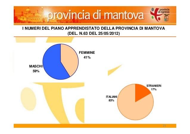 23 ITALIANI 83% STRANIERI 17% MASCHI 59% FEMMINE 41% I NUMERI DEL PIANO APPRENDISTATO DELLA PROVINCIA DI MANTOVA (DEL. N.6...