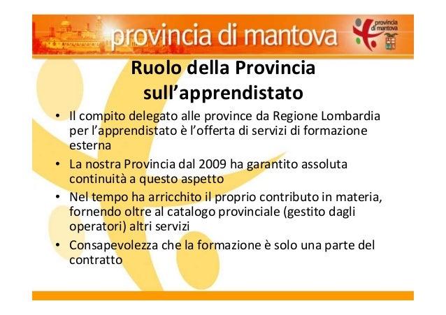 Ruolo della Provincia sull'apprendistato • Il compito delegato alle province da Regione Lombardia per l'apprendistato è l'...
