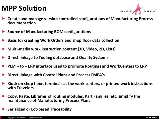 Aras Innovative PLM Manufacturing Applications