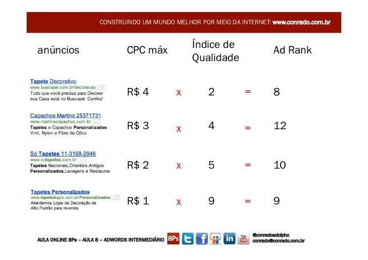 CONSTRUINDO UM MUNDO MELHOR POR MEIO DA INTERNET: www.conrado.com.branúncios                         CPC máx              ...