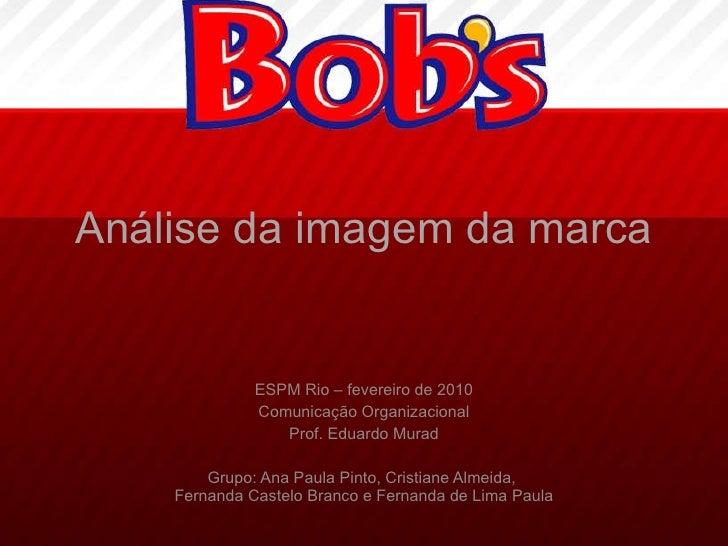 Análise da imagem da marca ESPM Rio – fevereiro de 2010 Comunicação Organizacional Prof. Eduardo Murad Grupo: Ana Paula Pi...