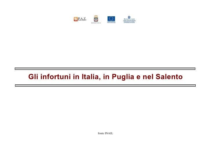 Gli infortuni in Italia, in Puglia e nel Salento                          fonte INAIL