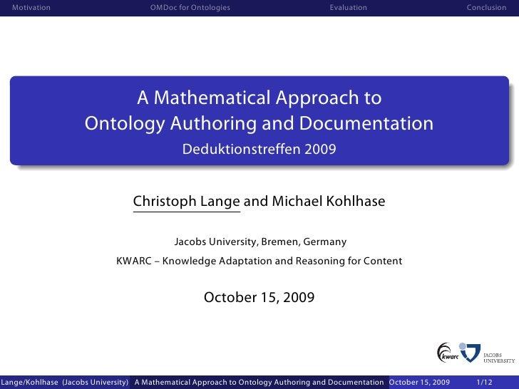 Motivation                          OMDoc for Ontologies                          Evaluation                        Conclu...