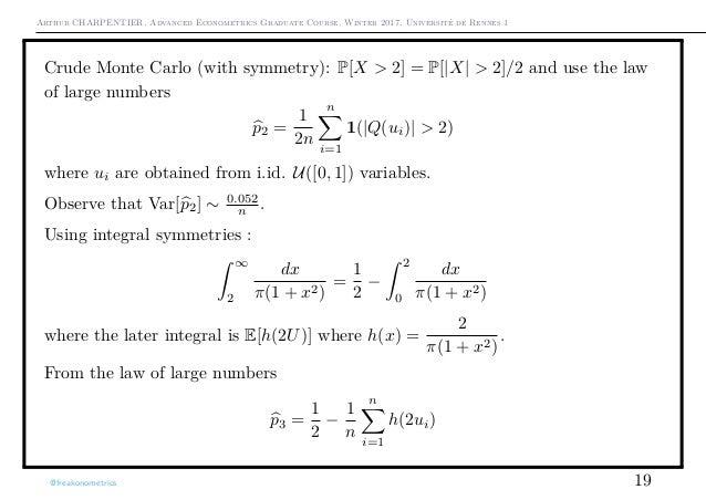 Arthur CHARPENTIER, Advanced Econometrics Graduate Course, Winter 2017, Université de Rennes 1 Crude Monte Carlo (with sym...