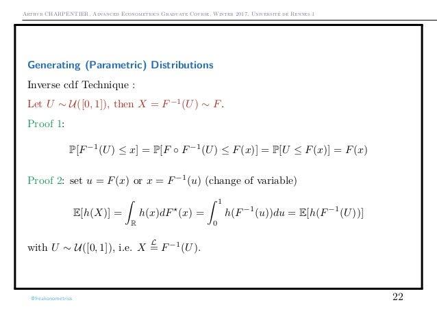 Arthur CHARPENTIER, Advanced Econometrics Graduate Course, Winter 2017, Université de Rennes 1 Generating (Parametric) Dis...