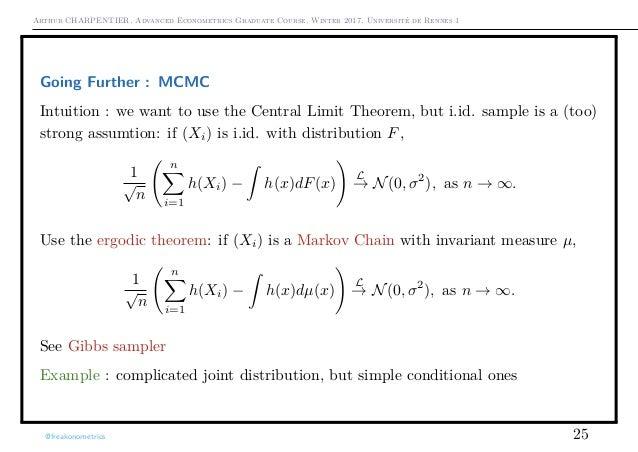 Arthur CHARPENTIER, Advanced Econometrics Graduate Course, Winter 2017, Université de Rennes 1 Going Further : MCMC Intuit...