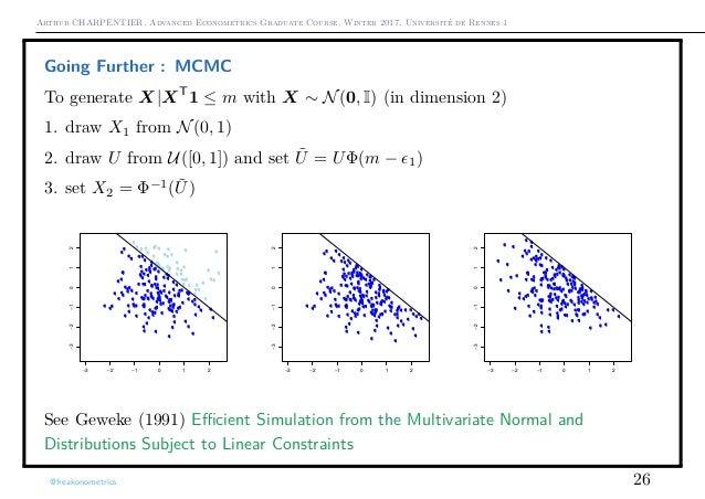 Arthur CHARPENTIER, Advanced Econometrics Graduate Course, Winter 2017, Université de Rennes 1 Going Further : MCMC To gen...