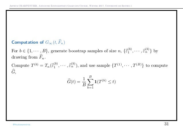 Arthur CHARPENTIER, Advanced Econometrics Graduate Course, Winter 2017, Université de Rennes 1 Computation of G∞(t, Fn) Fo...