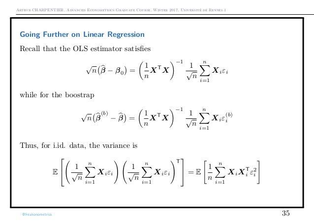 Arthur CHARPENTIER, Advanced Econometrics Graduate Course, Winter 2017, Université de Rennes 1 Going Further on Linear Reg...