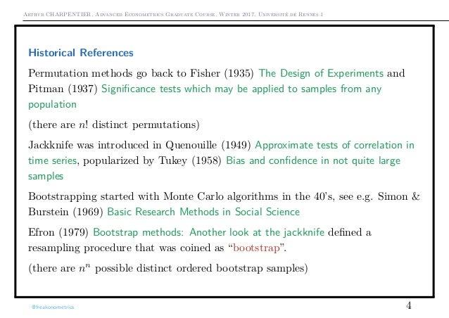Arthur CHARPENTIER, Advanced Econometrics Graduate Course, Winter 2017, Université de Rennes 1 Historical References Permu...
