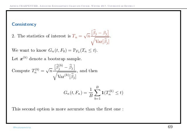 Arthur CHARPENTIER, Advanced Econometrics Graduate Course, Winter 2017, Université de Rennes 1 Consistency 2. The statisti...