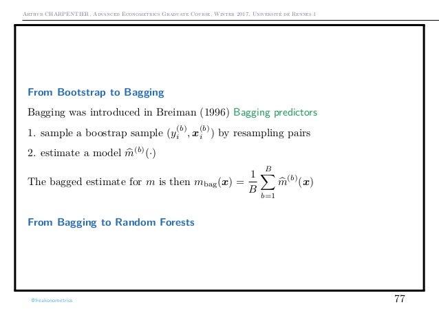 Arthur CHARPENTIER, Advanced Econometrics Graduate Course, Winter 2017, Université de Rennes 1 From Bootstrap to Bagging B...