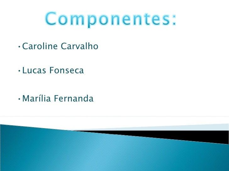 • Caroline Carvalho • Lucas Fonseca • Marília Fernanda