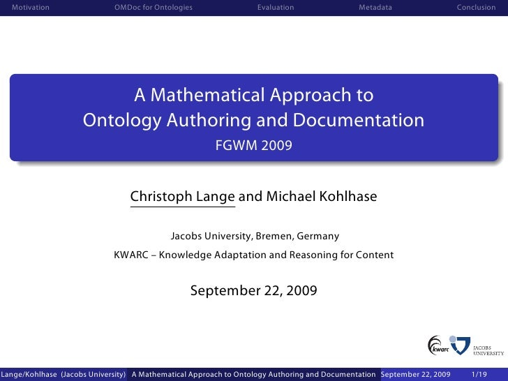Motivation                 OMDoc for Ontologies                 Evaluation                 Metadata                   Conc...
