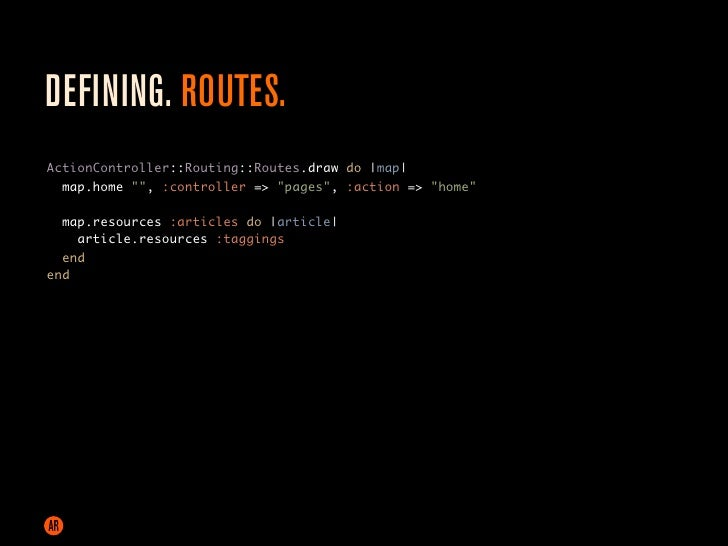 DEFINING. CONTROLERS. class TaggingsController < ApplicationController   def create     article = Article.find(params[:art...