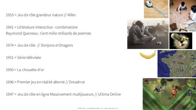 1953 > Jeu de rôle grandeur nature // Killer 1961 > Littérature interactive - combinatoire Raymond Queneau : Cent mille mi...