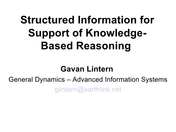 Structured Information for Support of Knowledge-based
