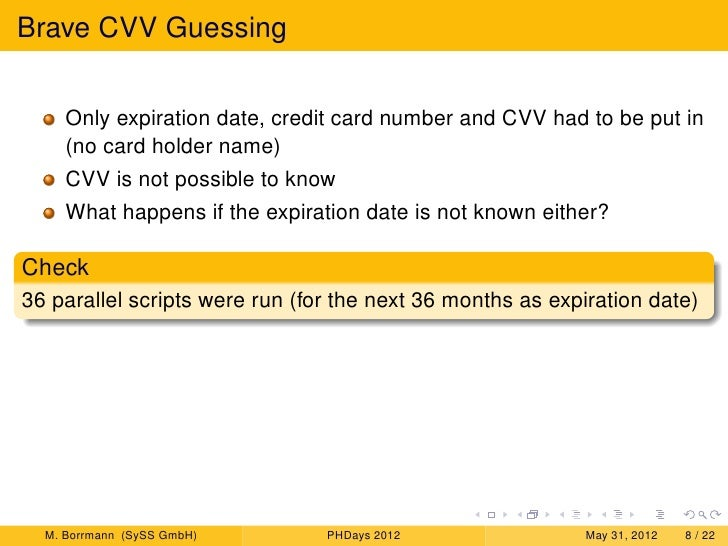 guessing cvv spoofing payment and experiences with fraud detection sy