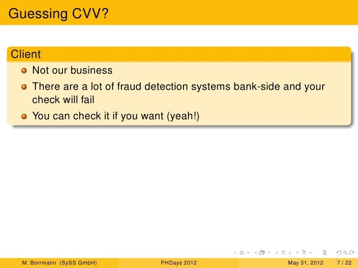 Guessing CVV, Spoofing Payment and Experiences with Fraud Detection Sy…