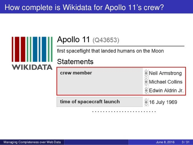 How complete is Wikidata for Apollo 11's crew? Managing Completeness over Web Data June 8, 2016 3 / 31