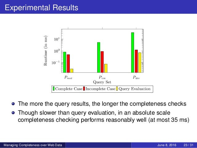 Experimental Results The more the query results, the longer the completeness checks Though slower than query evaluation, i...